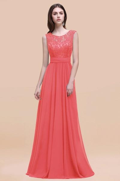 Elegant A-line Chiffon Lace Scoop Sleeveless Floor-Length Bridesmaid Dress_7