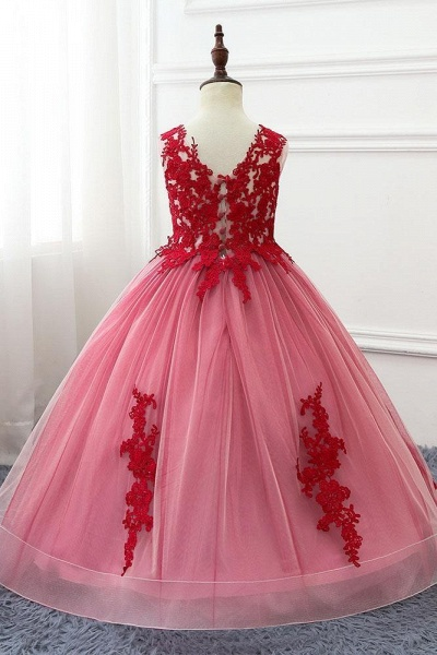 Red V-Neck Sleeveless Ball Gown Flower Girls Dress
