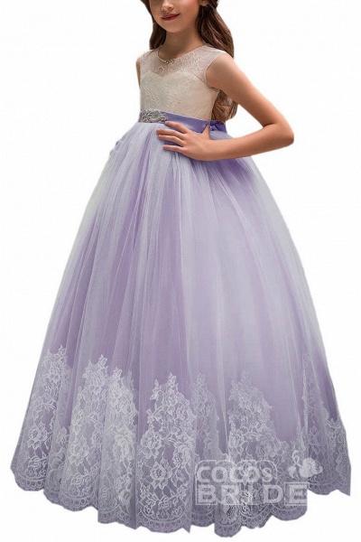 Pink Scoop Neck Sleeveless Ball Gown Flower Girls Dress_6