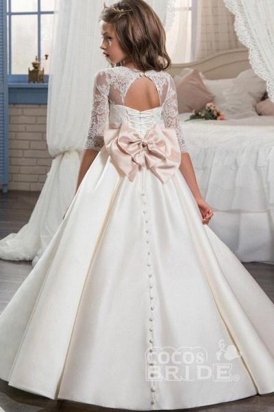 Ivory Scoop Neck Long Sleeves Ball Gown Flower Girls Dress_2