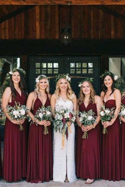 Convertible Long A-line Burgundy Bridesmaid Dresses | Multiway Infinity Dress