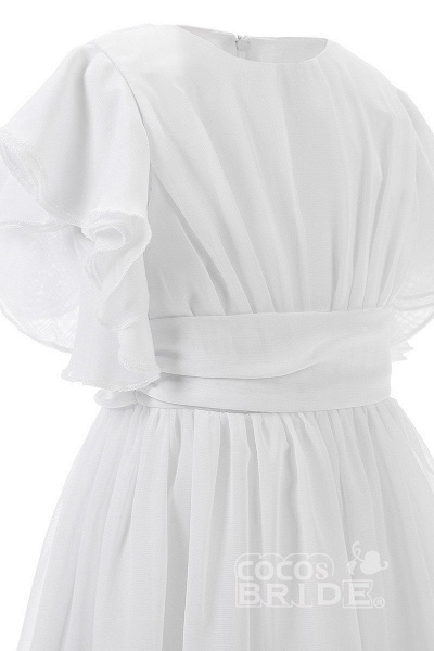 White Scoop Neck Short Sleeves Dress Flower Girls Dress_4