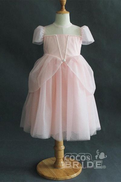 Light Blue Scoop Neck Short Sleeves Ball Gown Dress_4