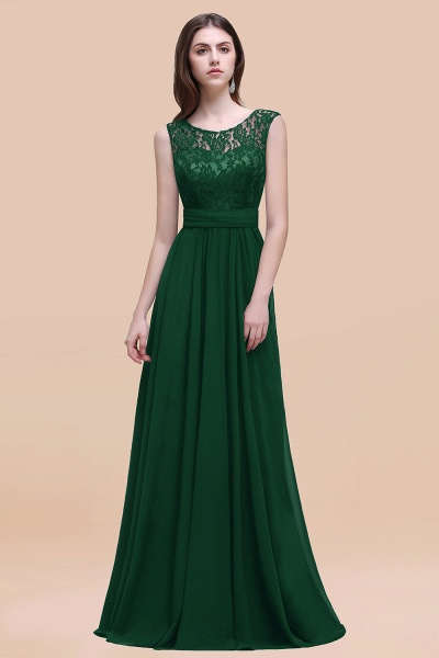 Elegant A-line Chiffon Lace Scoop Sleeveless Floor-Length Bridesmaid Dress_31