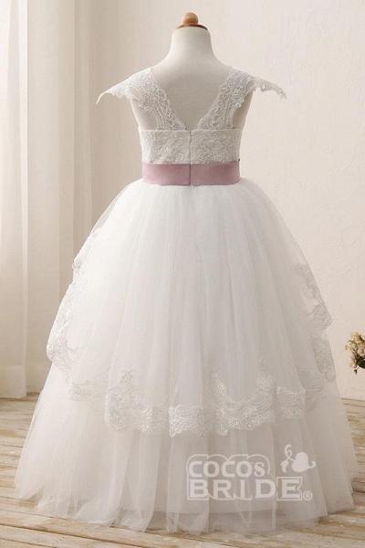 White Square Neck Cap Sleeves Ball Gown Flower Girls Dress_4