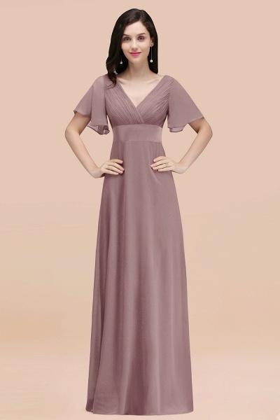 Simple A-Line Chiffon V-Neck Short-Sleeves Ruffles Floor-Length Bridesmaid Dresses_37