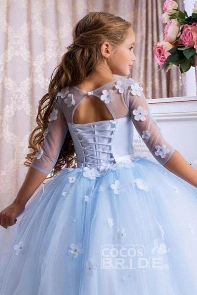 Light Blue Scoop Neck 3/4 Sleeves Ball Gown Flower Girls Dress_4