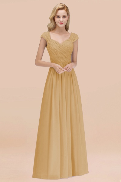 A-Line Chiffon Straps Sweetheart Sleeveless Floor-Length Bridesmaid Dress with Ruffles_13