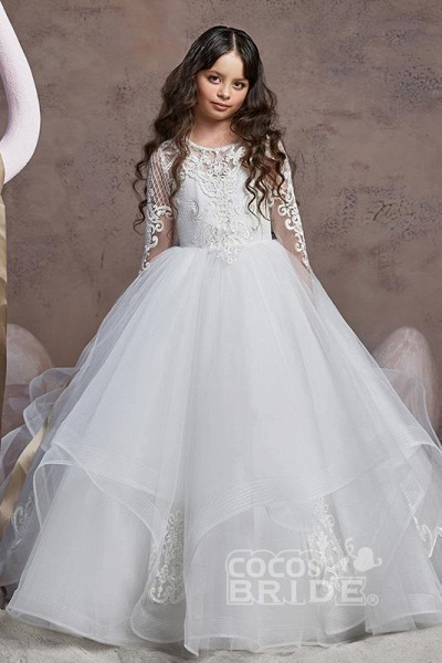 Scoop Neck Long Sleeves Ball Gown Flower Girls Dress_4