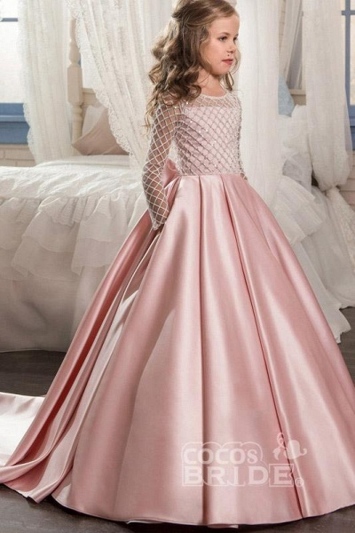 White Scoop Neck Long Sleeves Ball Gown Flower Girls Dress_9