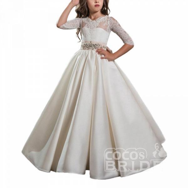 Ivory Scoop Neck Long Sleeves Ball Gown Flower Girls Dress_5