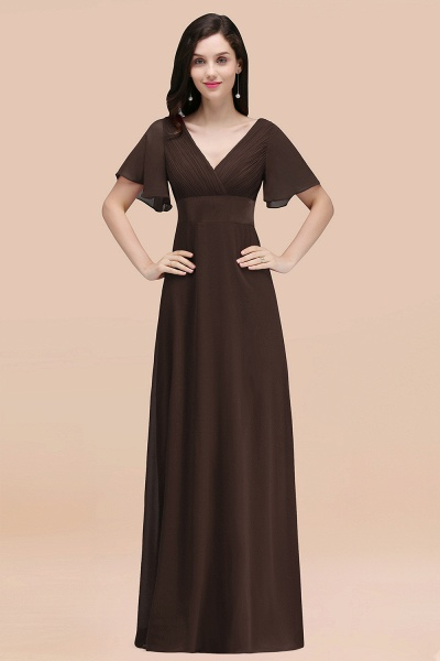 Simple A-Line Chiffon V-Neck Short-Sleeves Ruffles Floor-Length Bridesmaid Dresses_11