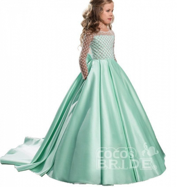 White Scoop Neck Long Sleeves Ball Gown Flower Girls Dress_8