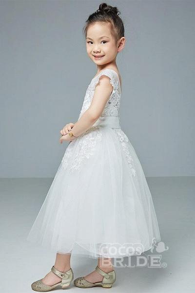 Beige Scoop Neck Short Sleeves Ball Gown Flower Girls Dress_2
