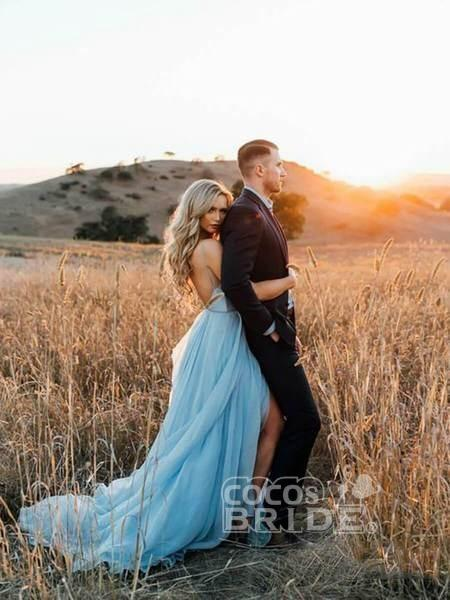 A-line Ruffles Sky Blue Rustic Wedding Dresses Beach Wedding Gown_8