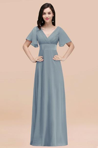 Simple A-Line Chiffon V-Neck Short-Sleeves Ruffles Floor-Length Bridesmaid Dresses_40