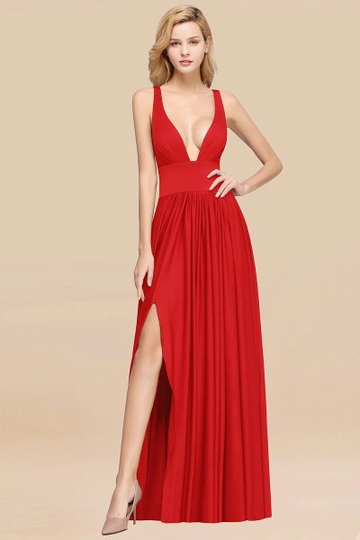 BM0141 A-Line V-Neck Sleeveless Long Ruffles Bridesmaid Dress_7