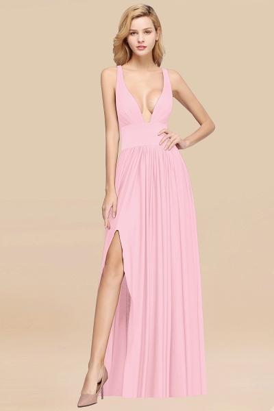 BM0141 A-Line V-Neck Sleeveless Long Ruffles Bridesmaid Dress_3