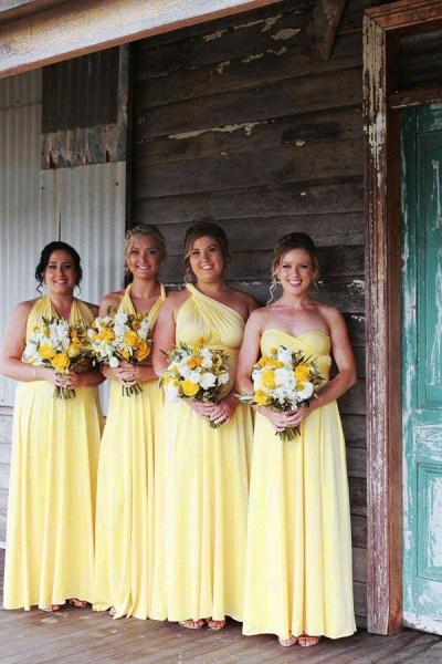 Simple Convertible Long Daffodil Bridesmaid Dresses | Multiway Infinity Dress