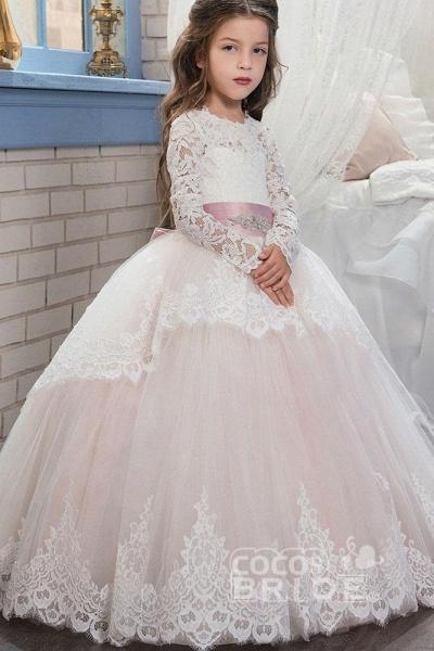 Purple Scoop Neck Long Sleeves Ball Gown Flower Girls Dress_8