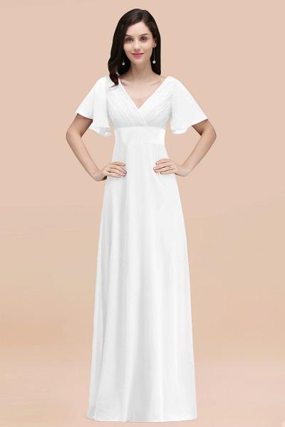 Simple A-Line Chiffon V-Neck Short-Sleeves Ruffles Floor-Length Bridesmaid Dresses_1