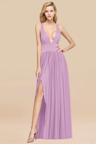 BM0141 A-Line V-Neck Sleeveless Long Ruffles Bridesmaid Dress_18