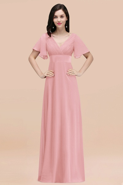 Simple A-Line Chiffon V-Neck Short-Sleeves Ruffles Floor-Length Bridesmaid Dresses_4