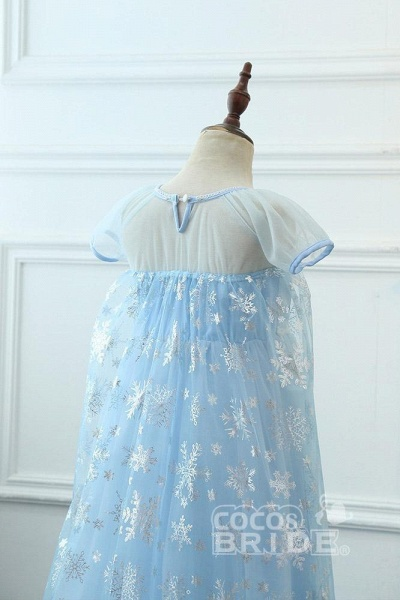Light Blue Short Sleeves  Scoop Neck A-line Flower Girl Dresses_3