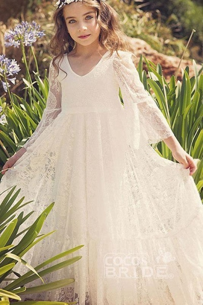 White Scoop Neck Long Sleeves Dress Flower Girls Dress_3