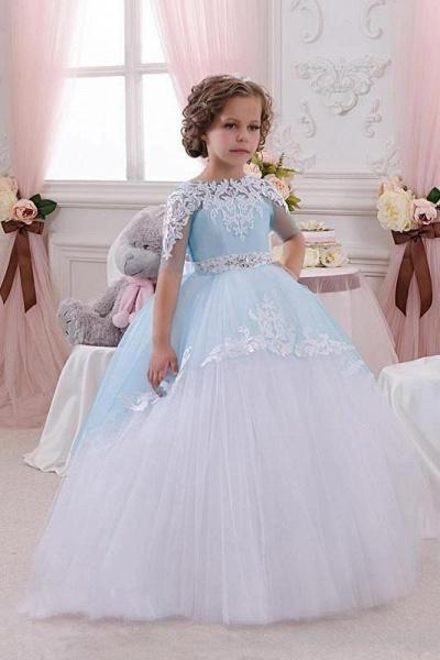 Scoop Neck 1/2 Sleeve Ball Gown Flower Girls Dress_1