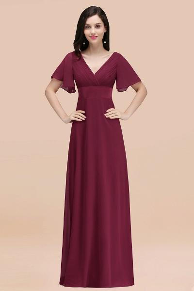 Simple A-Line Chiffon V-Neck Short-Sleeves Ruffles Floor-Length Bridesmaid Dresses_44