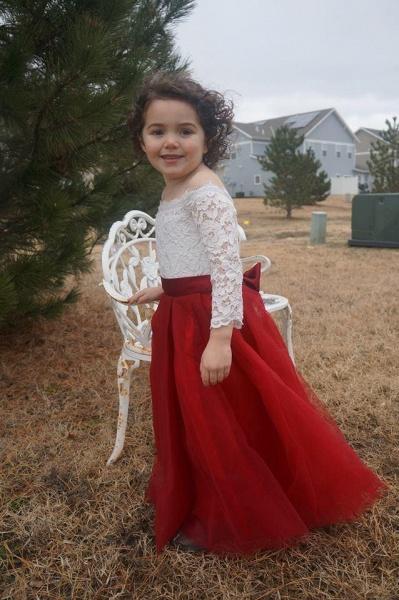 Scoop Neck 3/4 Sleeves Ball Gown Flower Girls Dress_1
