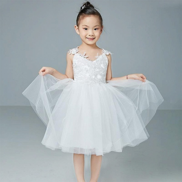 Beige V-Neck Sleeveless Ball Gown Flower Girls Dress