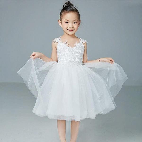 Beige V-Neck Sleeveless Ball Gown Flower Girls Dress_1