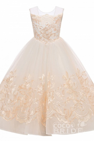 Beige Scoop Neck Sleeveless Ball Gown Flower Girls Dress_4