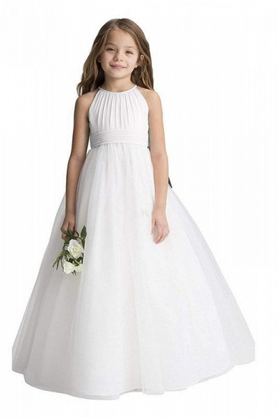 Ivory Scoop Neck Sleeveless Ball Gown Flower Girls Dress_1