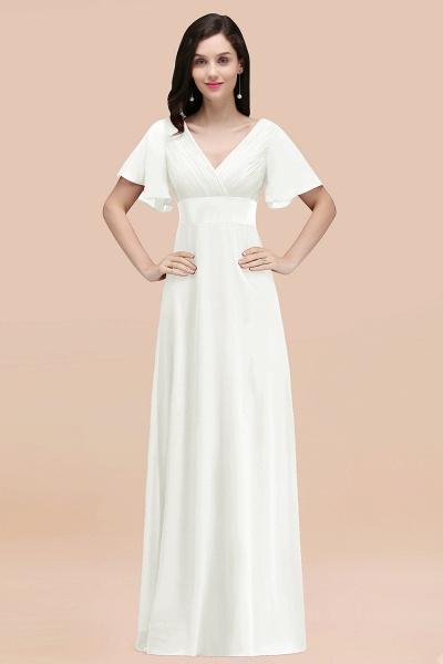 Simple A-Line Chiffon V-Neck Short-Sleeves Ruffles Floor-Length Bridesmaid Dresses_2
