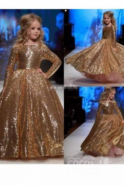 Golden Scoop Neck Long Sleeves Princess Dress_2