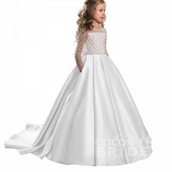 White Scoop Neck Long Sleeves Ball Gown Flower Girls Dress_6