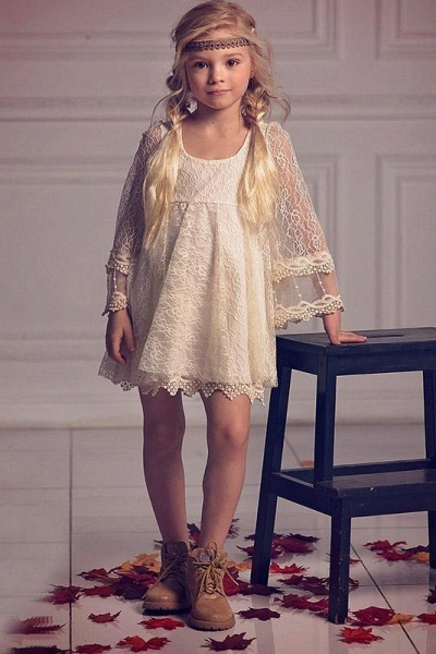Ivory Scoop Neck Long Sleeves A-Line Flower Girls Dress_1