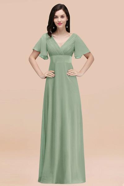 Simple A-Line Chiffon V-Neck Short-Sleeves Ruffles Floor-Length Bridesmaid Dresses_41