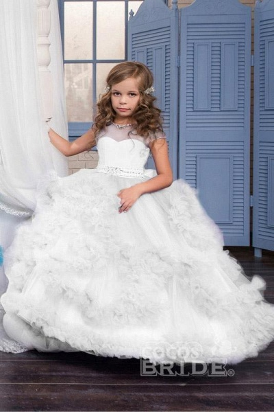 Violet Scoop Neck Short Sleeves Ball Gown Flower Girls Dress_6
