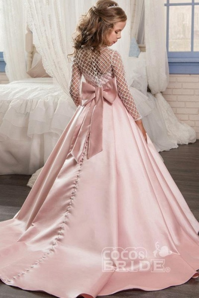 White Scoop Neck Long Sleeves Ball Gown Flower Girls Dress_13