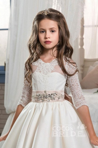 Ivory Scoop Neck Long Sleeves Ball Gown Flower Girls Dress_3