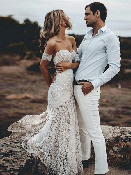 Ivory Lace Beach Wedding Dresses Sweetheart Neck Rustic Boho Wedding Dresses