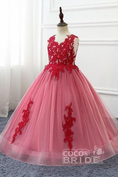 Red V-Neck Sleeveless Ball Gown Flower Girls Dress_4