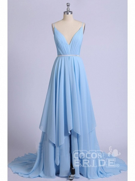 A-line Ruffles Sky Blue Rustic Wedding Dresses Beach Wedding Gown_4