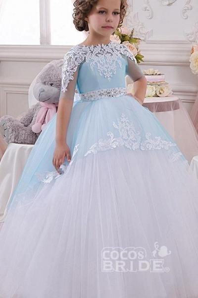 Scoop Neck 1/2 Sleeve Ball Gown Flower Girls Dress_2