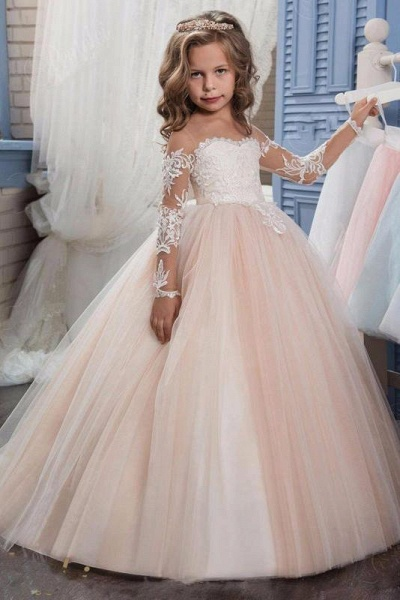 White Scoop Neck Long Sleeves Ball Gown Flower Girls Dress