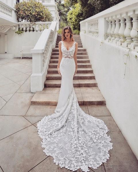 SD1950 Gorgeous Mermaid V-neck Lace Wedding Dress_3